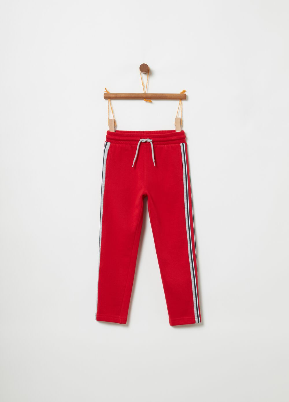 Trousers in 100% cotton with drawstring
