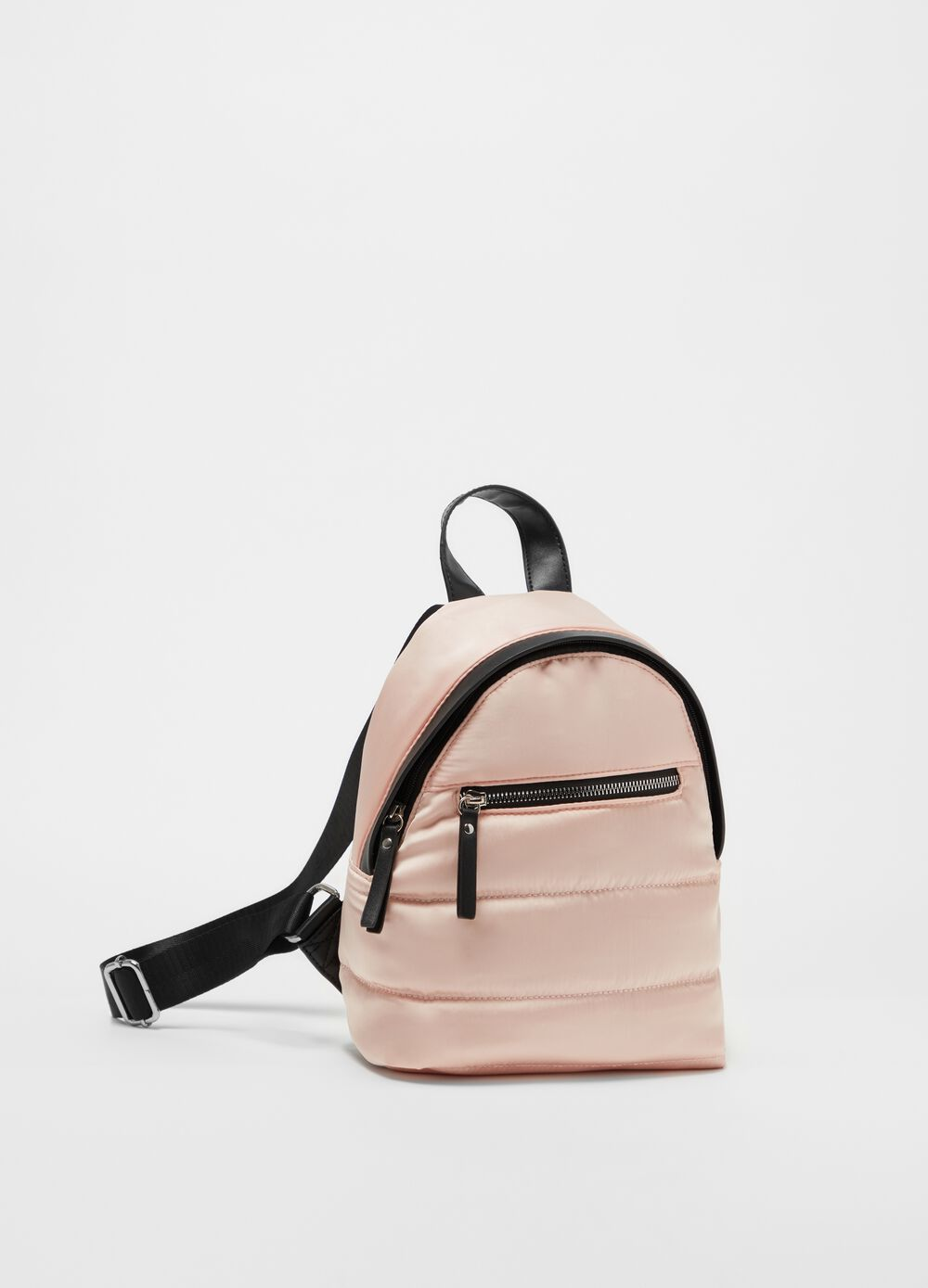 Solid colour padded and quilted backpack