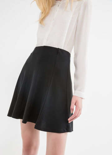 Full flared stretch skirt with high waist