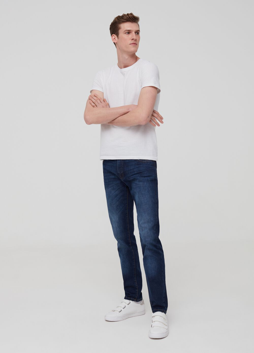 Slim-fit washed and misdyed-effect jeans
