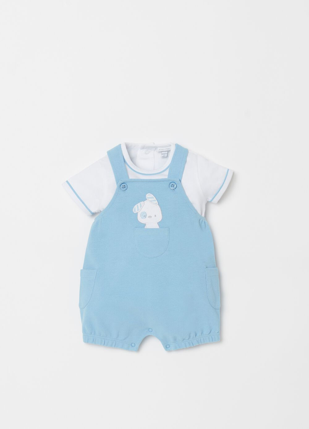 T-shirt and onesie set with embroidery and pockets