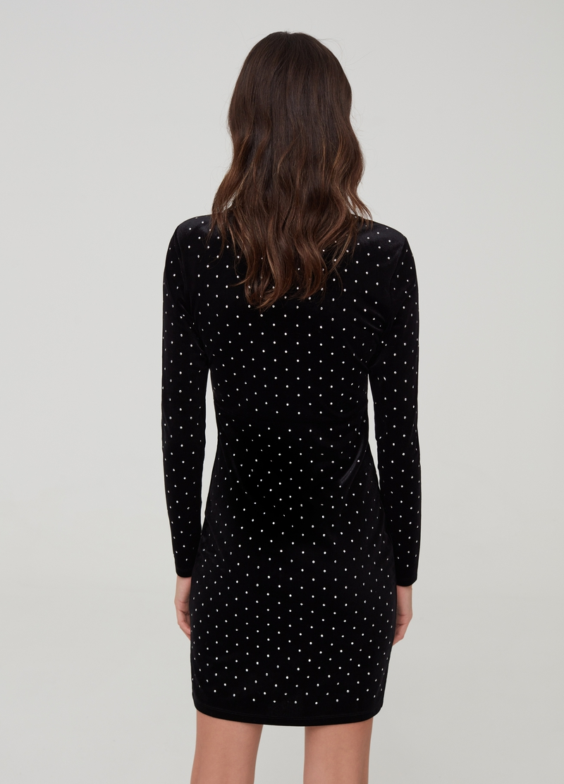 Velvet dress with all-over diamantés image number null