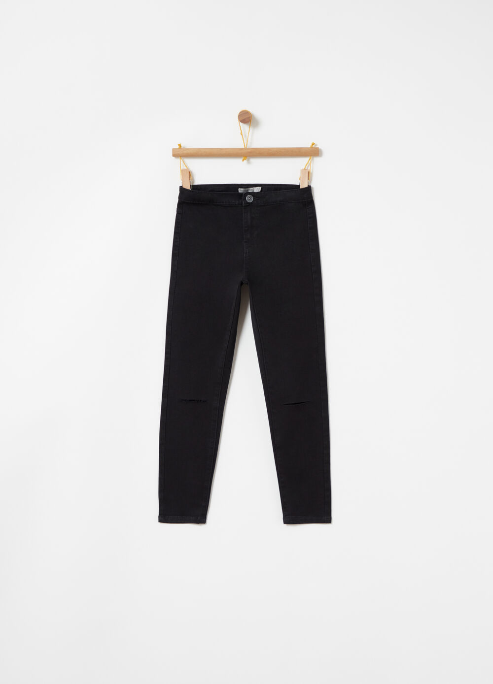 Stretch worn-effect lightweight jeans with high waist
