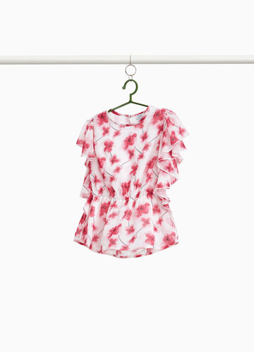 Floral shirt with flounce