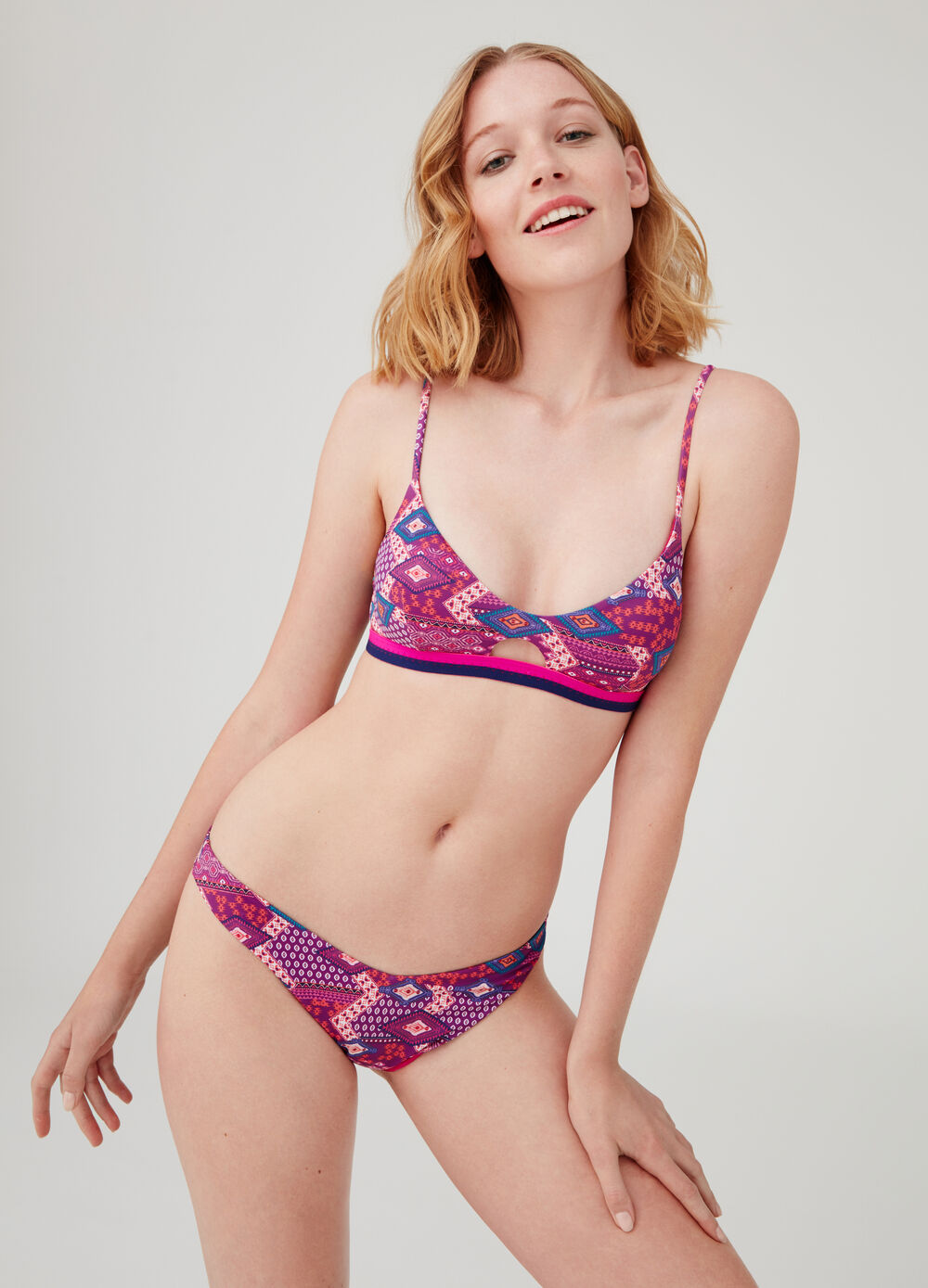 Stretch Brazilian-cut briefs with geometric print