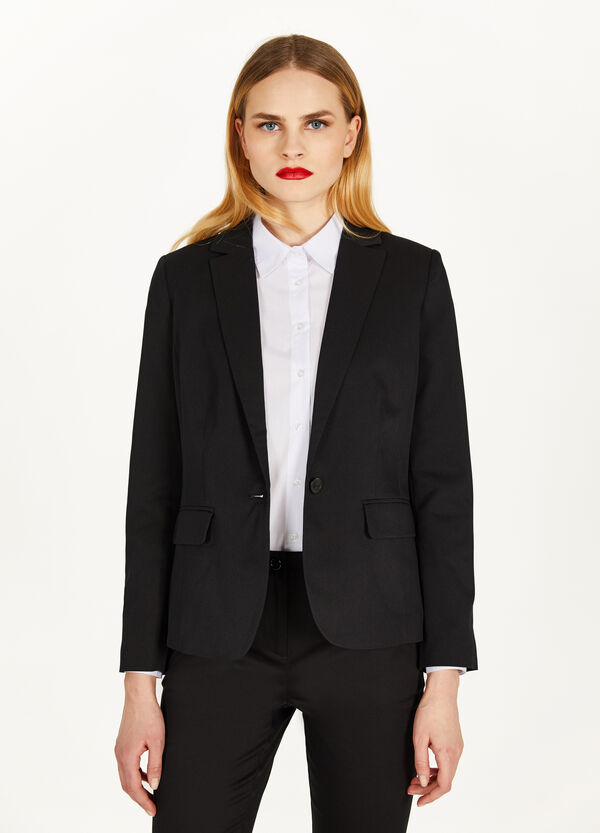Stretch blazer with single button