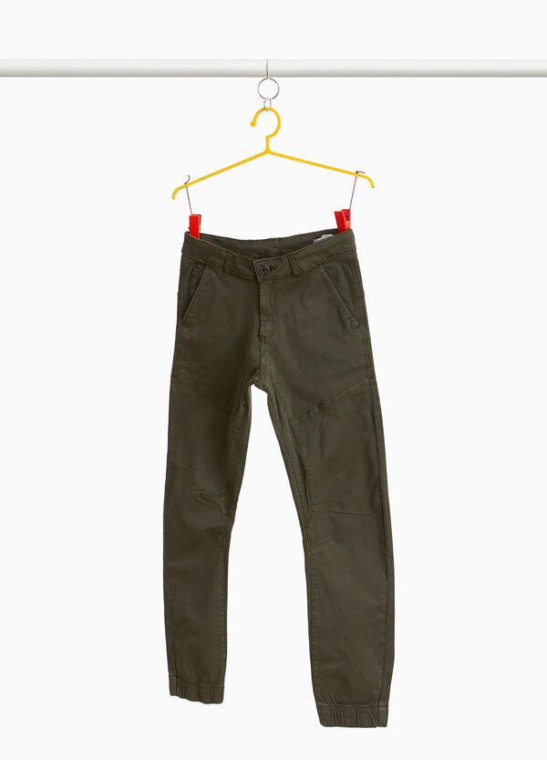 Stretch cotton trousers with pocket
