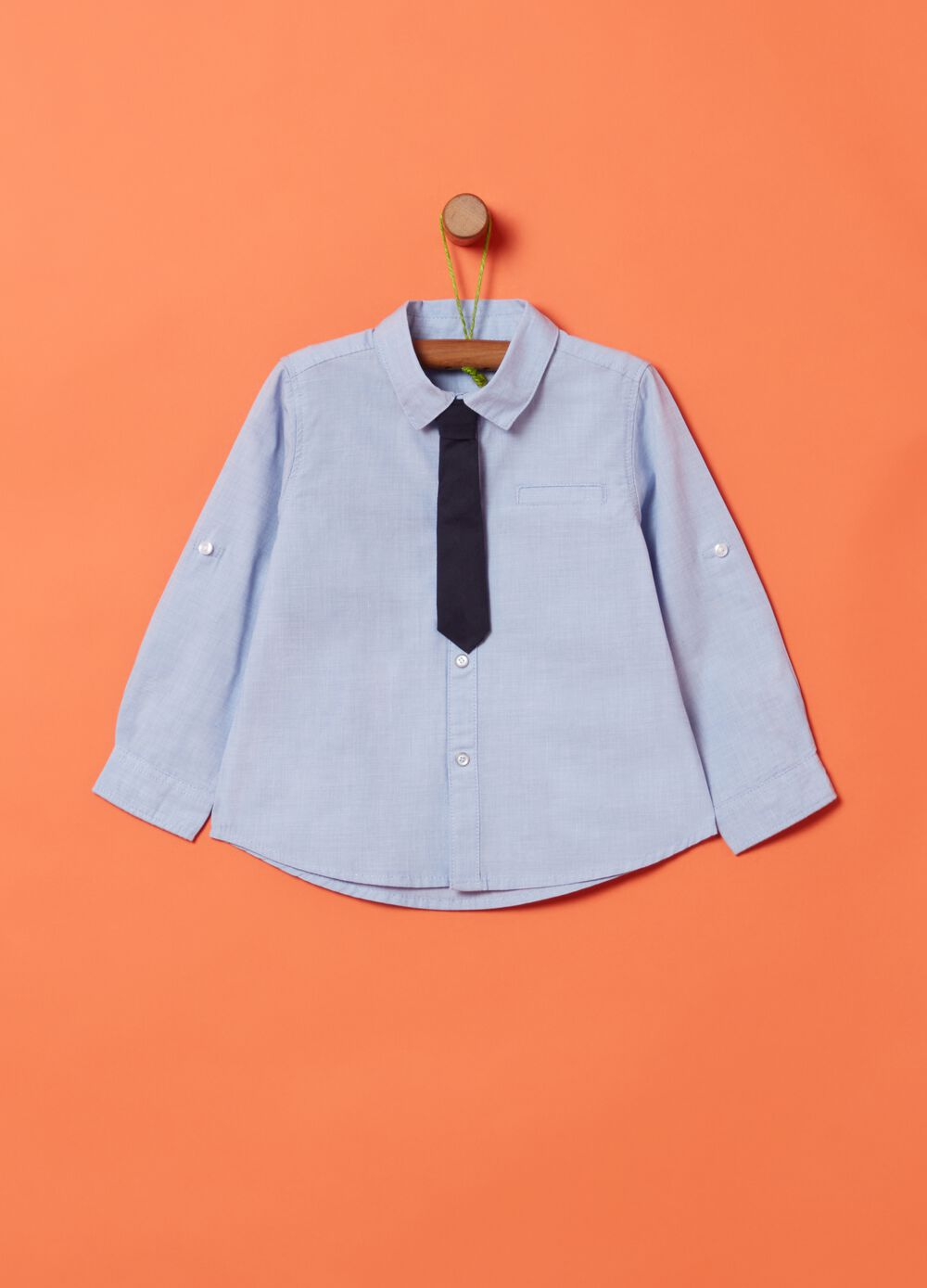 100% organic cotton shirt with tie