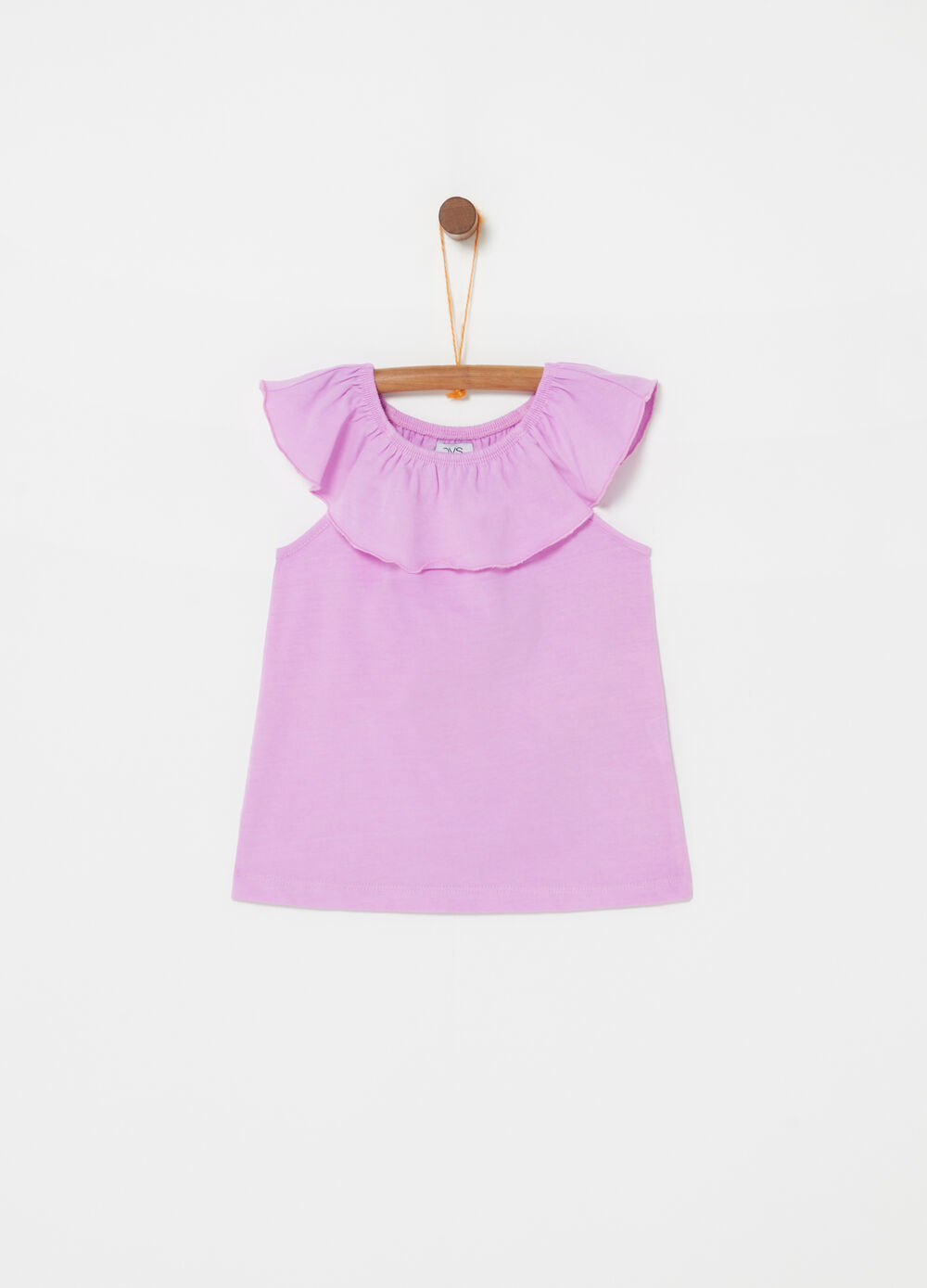 100% cotton tank top with frills