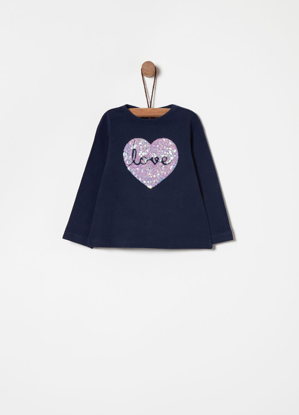 T-shirt with sequinned appliqués