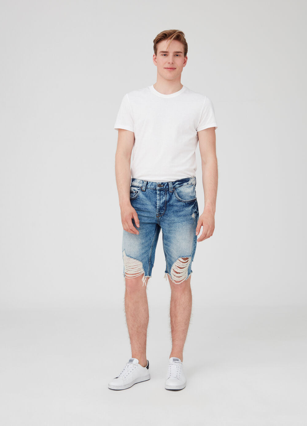 Slim-fit denim shorts with rips