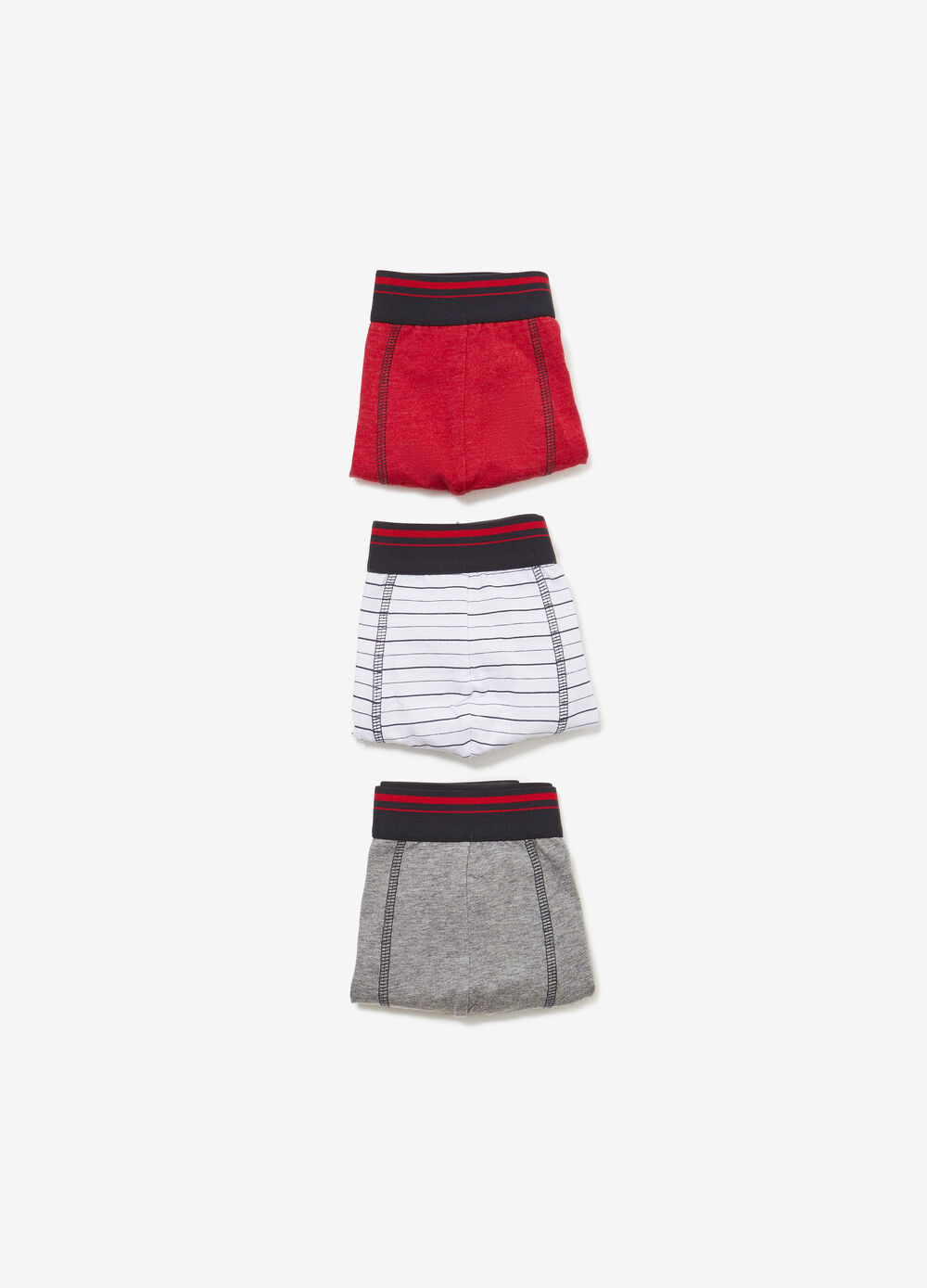Three-pack cotton solid colour and printed boxers