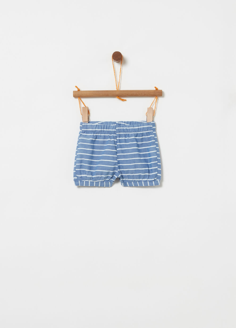 Denim shorts with elasticated and striped waist