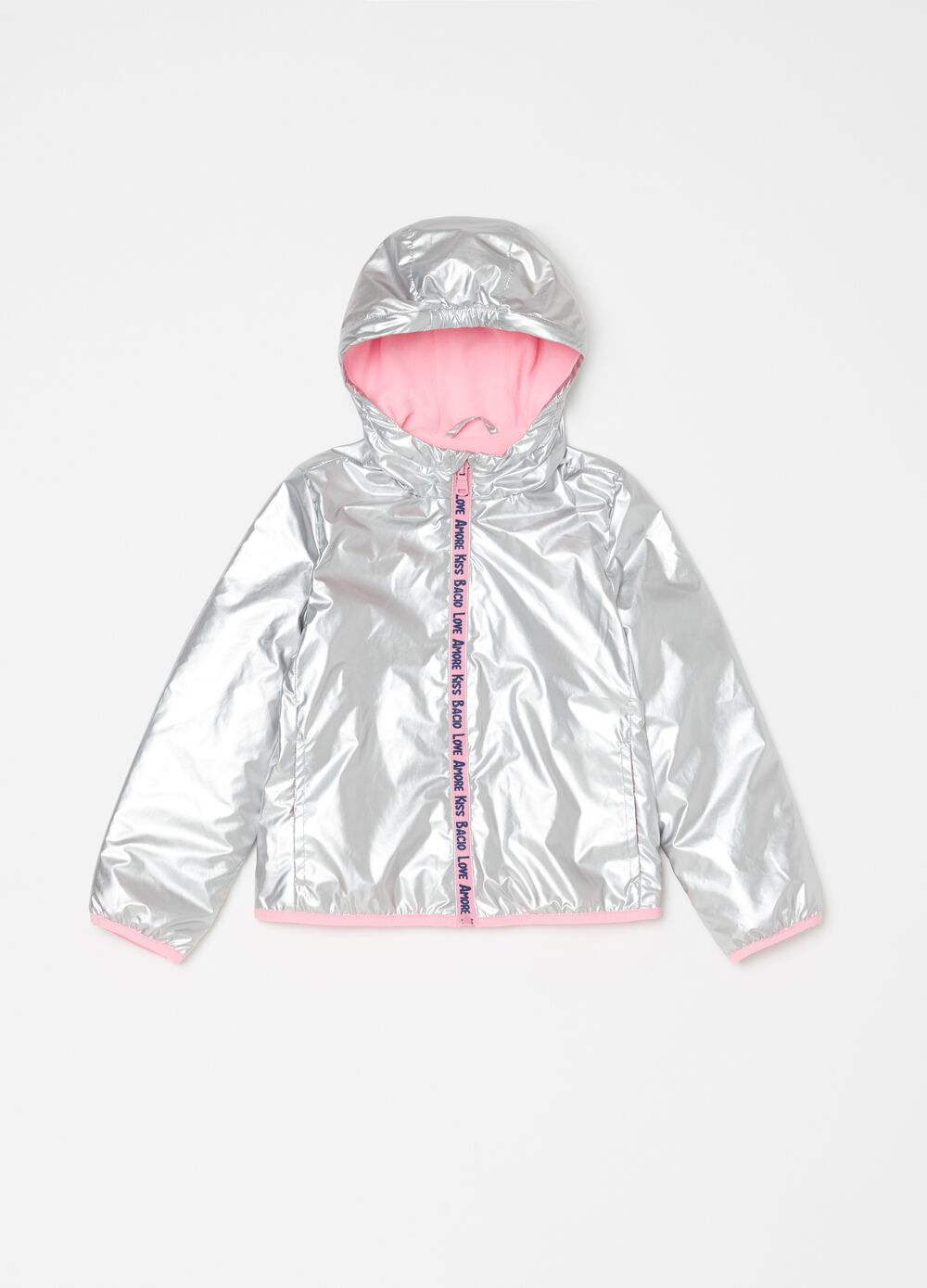 Jacket with hood pockets and print