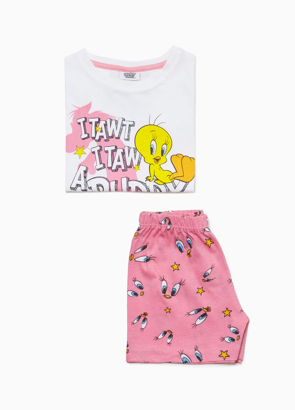 Cotton Tweetie Pie pyjamas with T-shirt and shorts