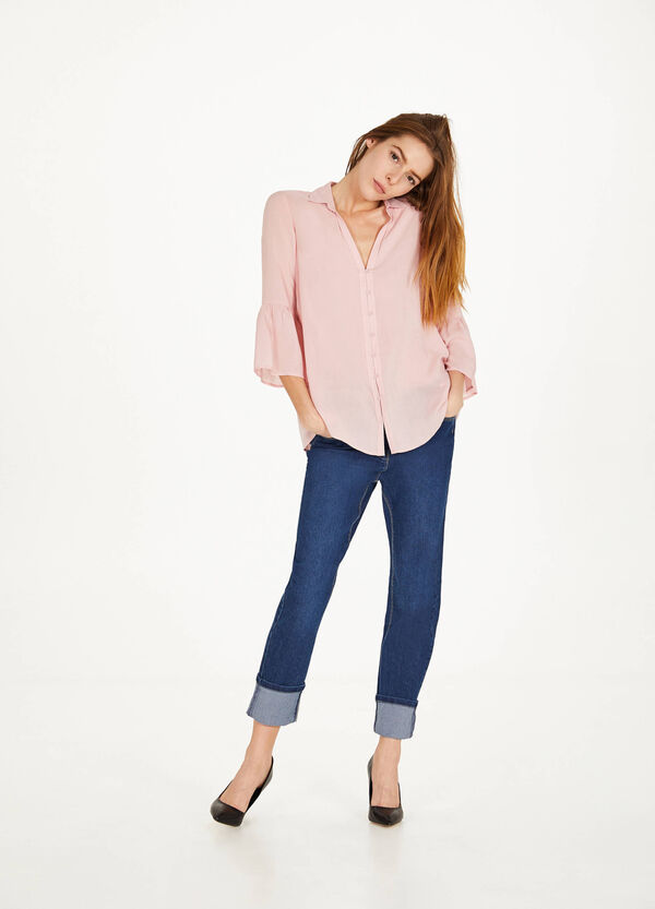 Regular-fit stretch jeans with turn-ups