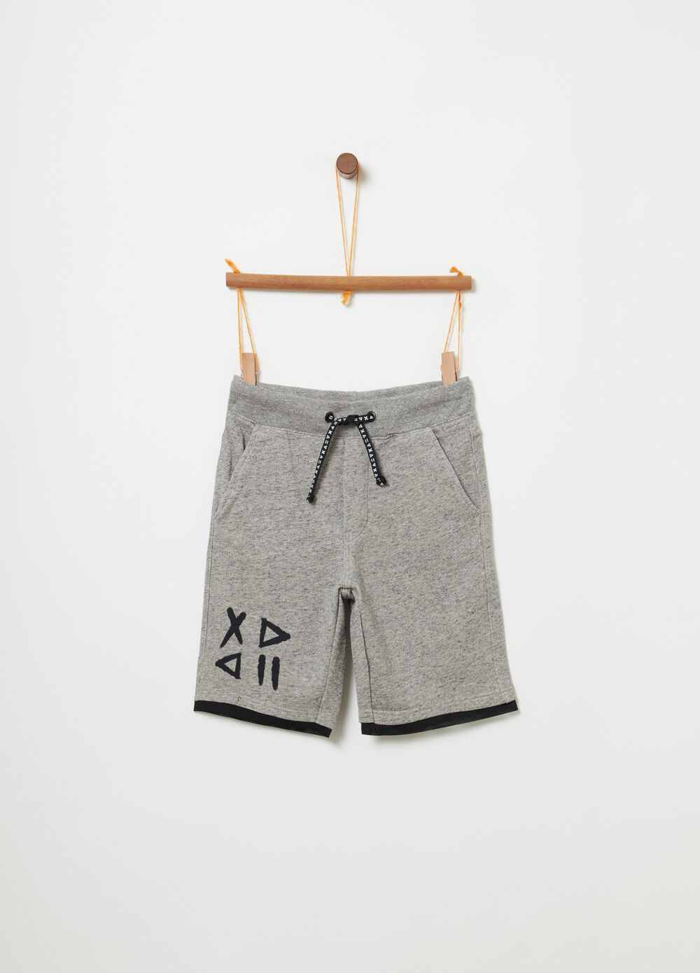 Stretch mélange shorts in French terry