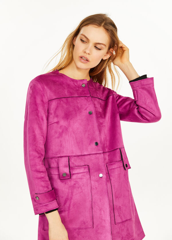 Stretch suede coat with buttons