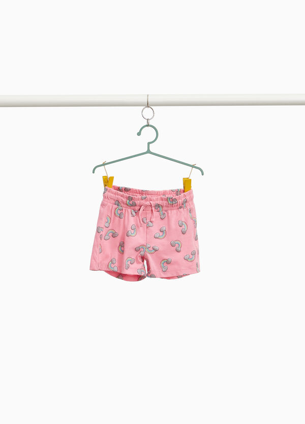 Stretch cotton shorts with glitter rainbows