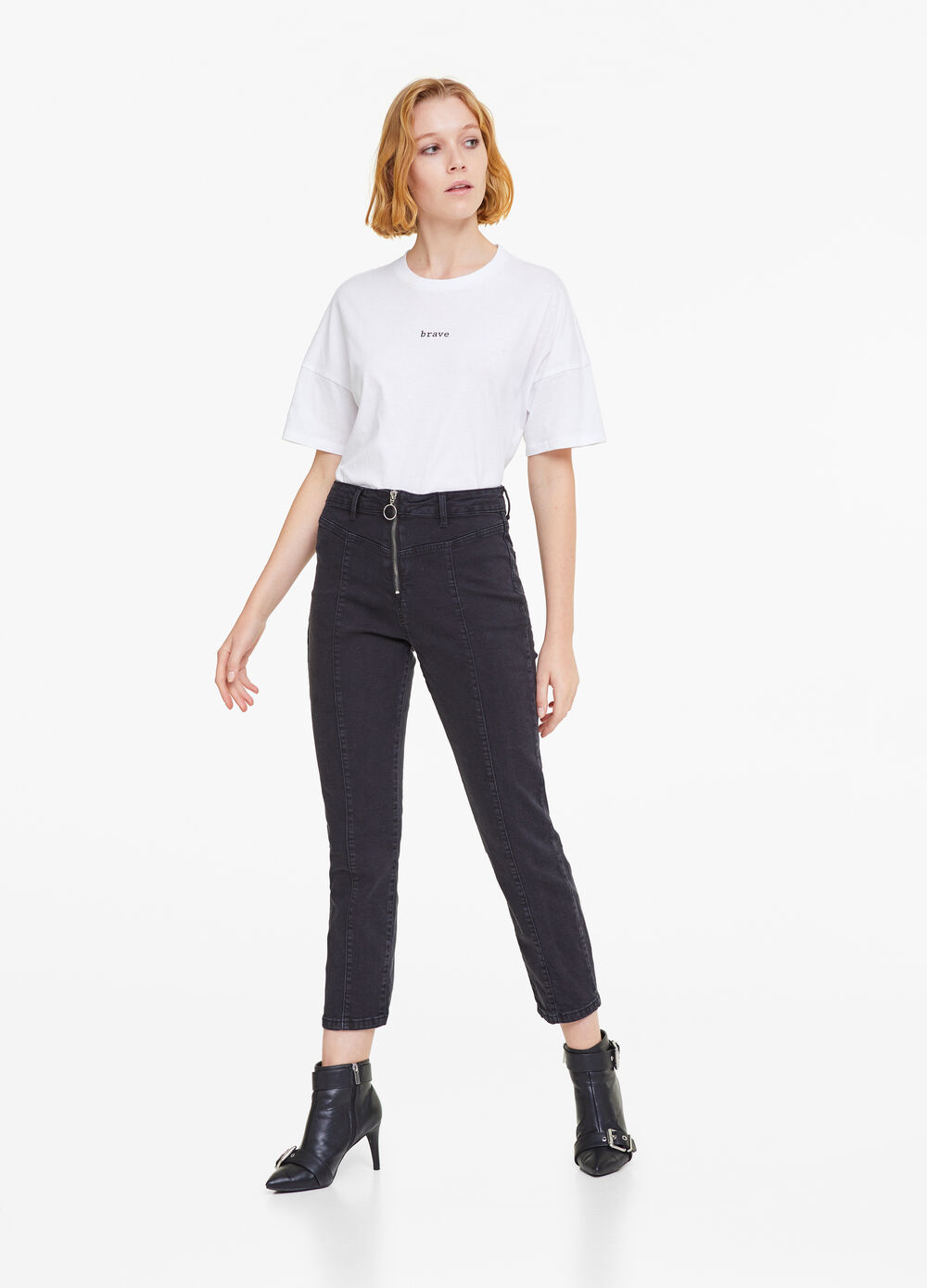 Solid colour stretch jeans with zip