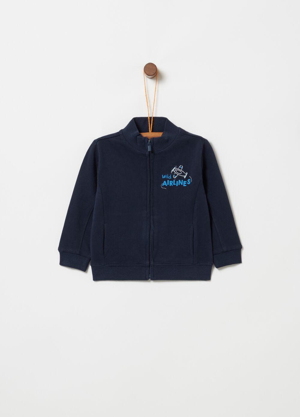 Full-zip top in 100% cotton fleece with print