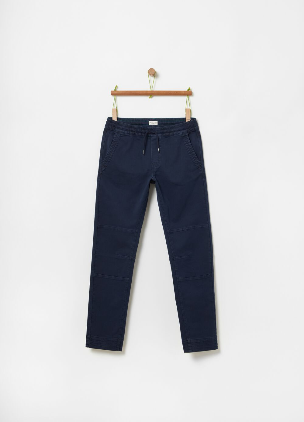 Stretch organic cotton joggers with drawstring