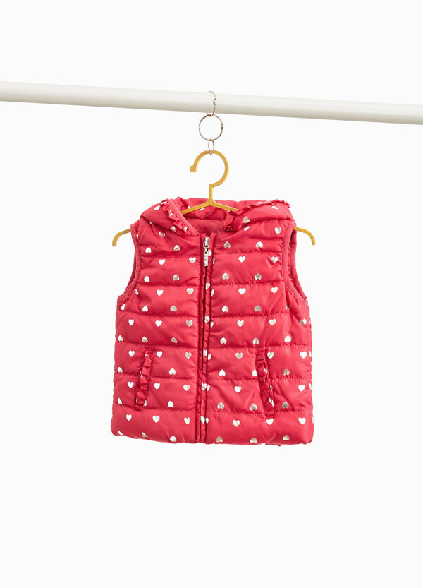 Padded gilet with flounce and glitter hearts