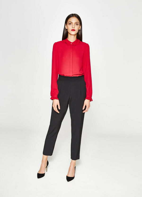 High-waisted stretch trousers with frills | OVS