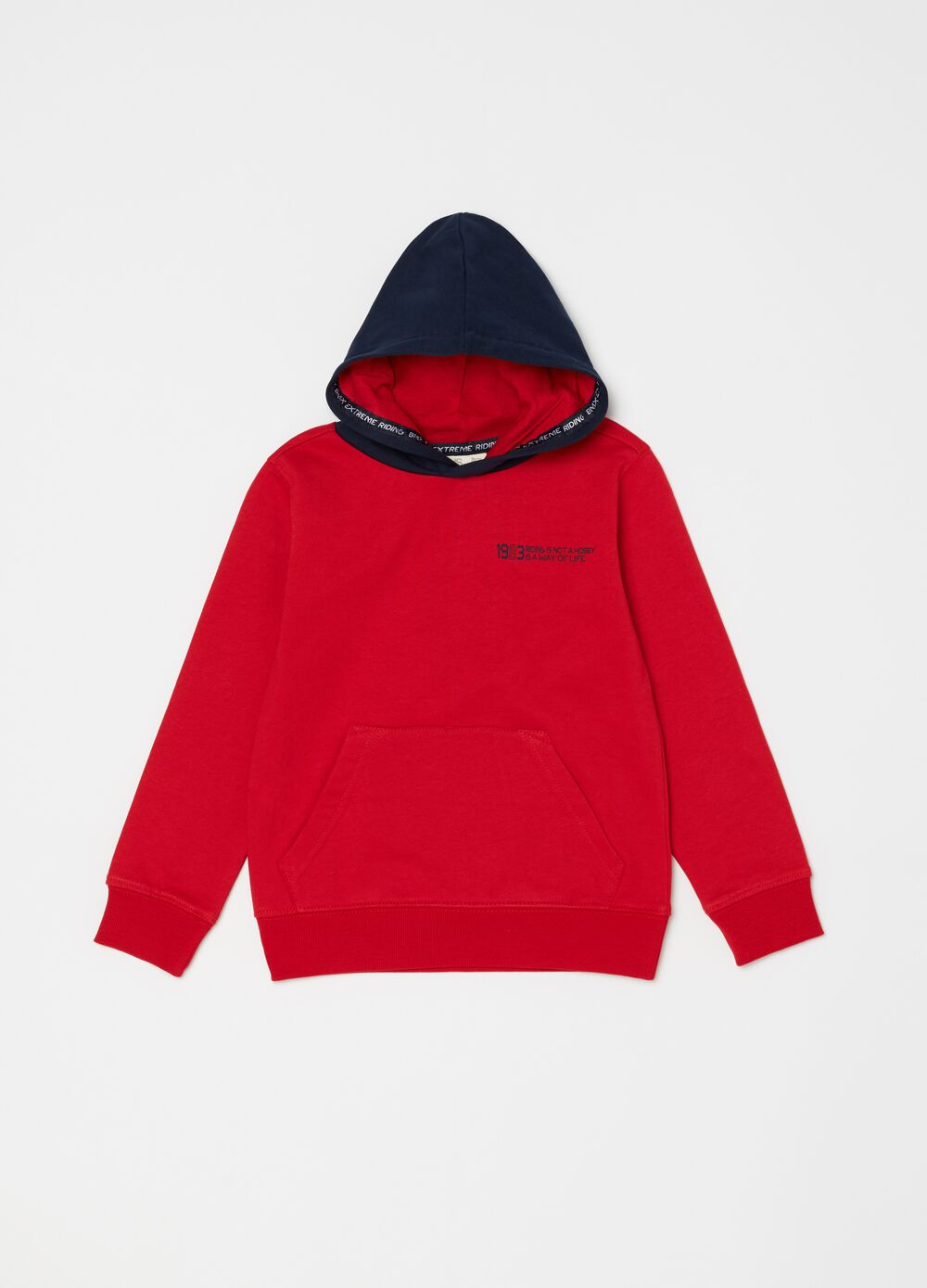 Cotton sweatshirt with hood and pouch pocket