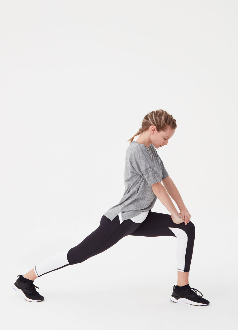 Two-tone leggings with high waist