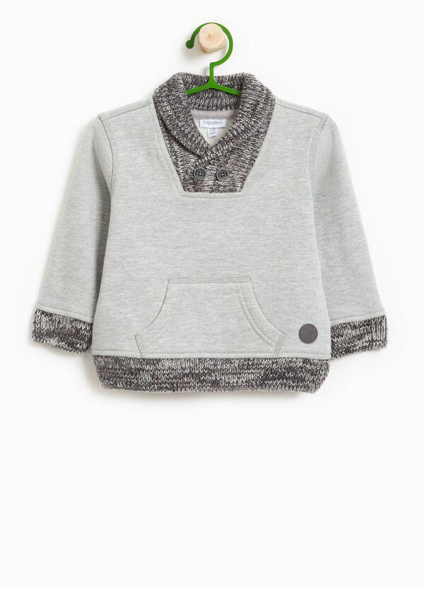 Cotton blend sweatshirt with knitted inserts | OVS