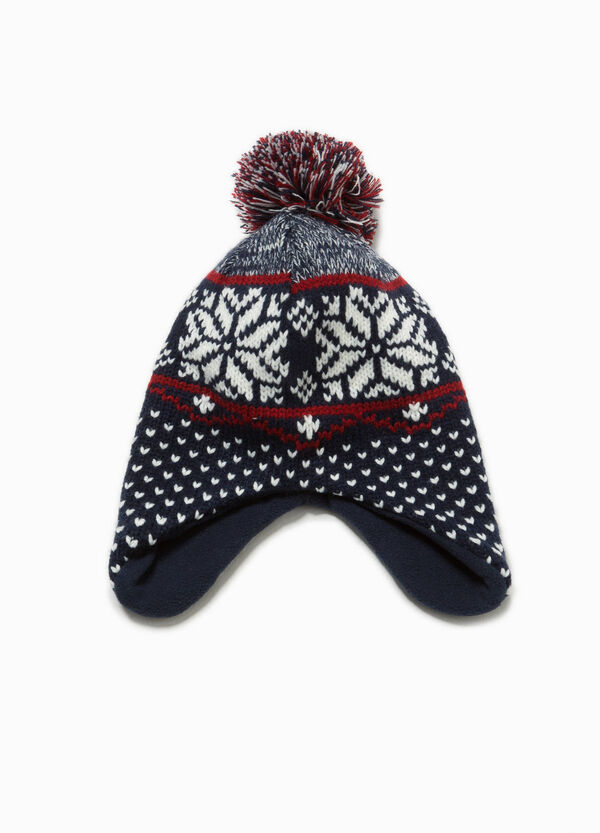 Patterned beanie cap with pompoms | OVS