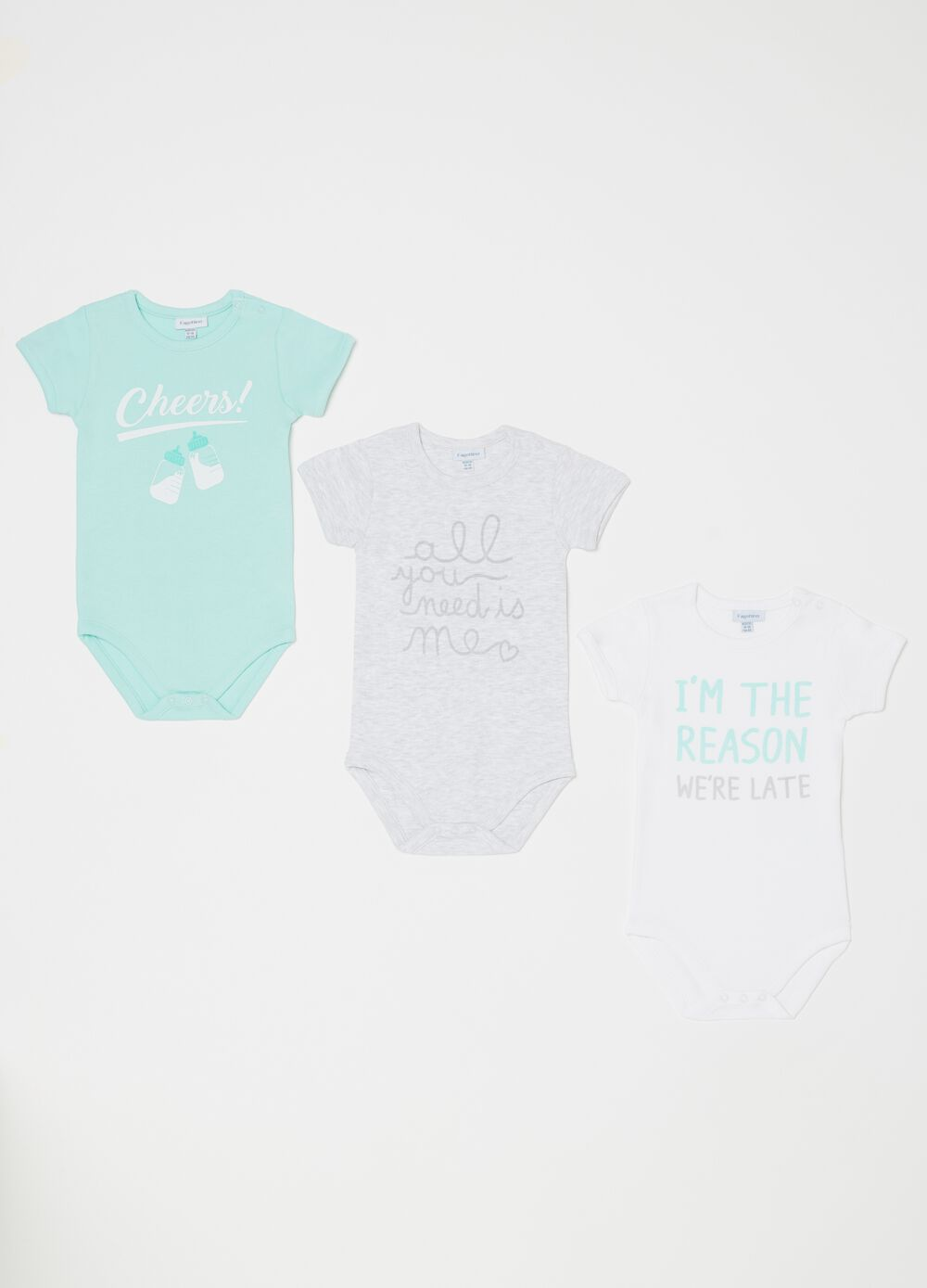 Set of three biocotton bodysuits with round neck