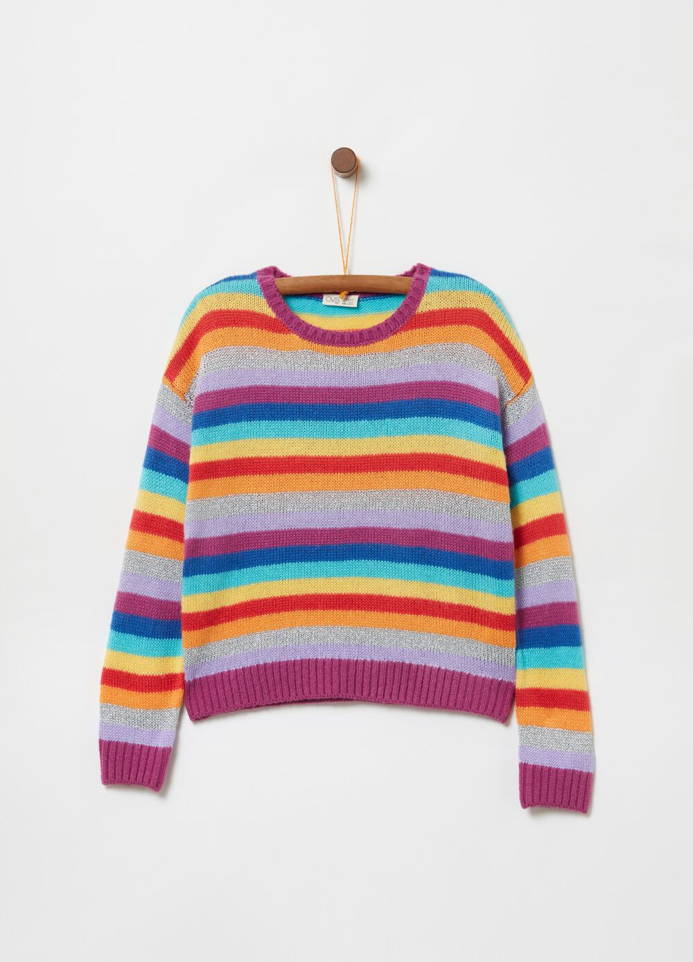 Knit top with striped pattern with lurex