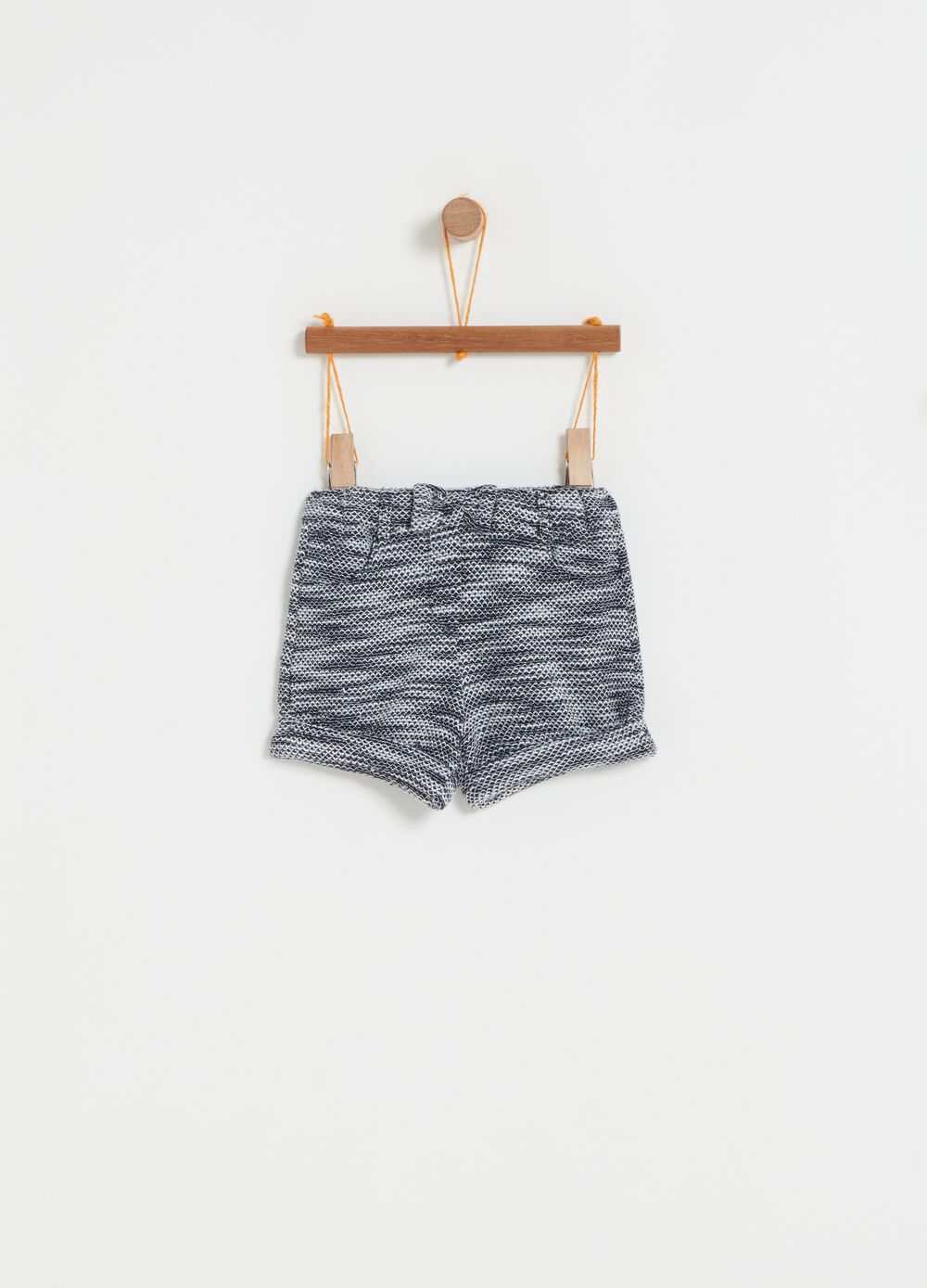 Mélange shorts with pockets and bow