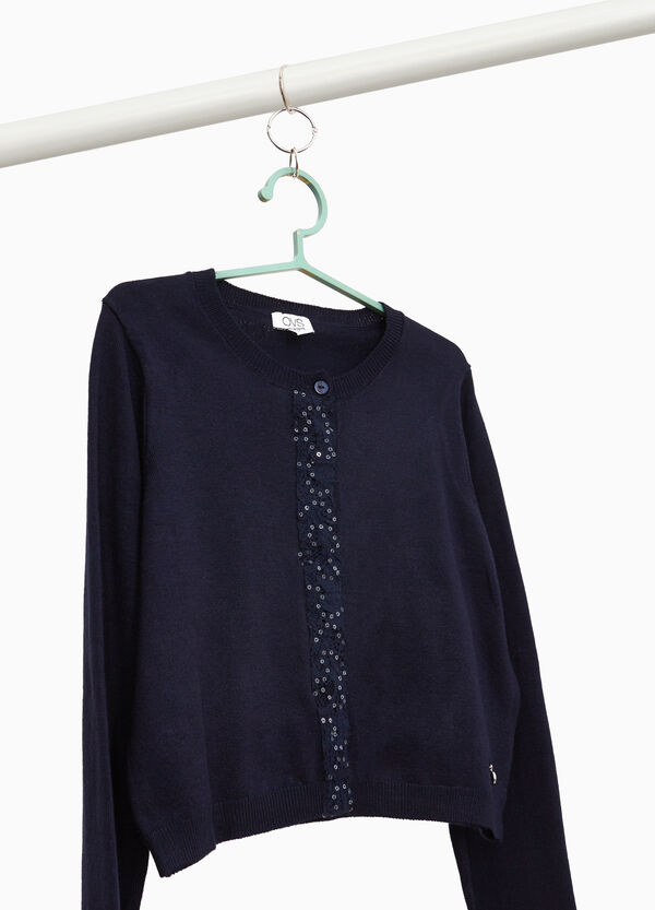 Viscose blend crop cardigan with lace