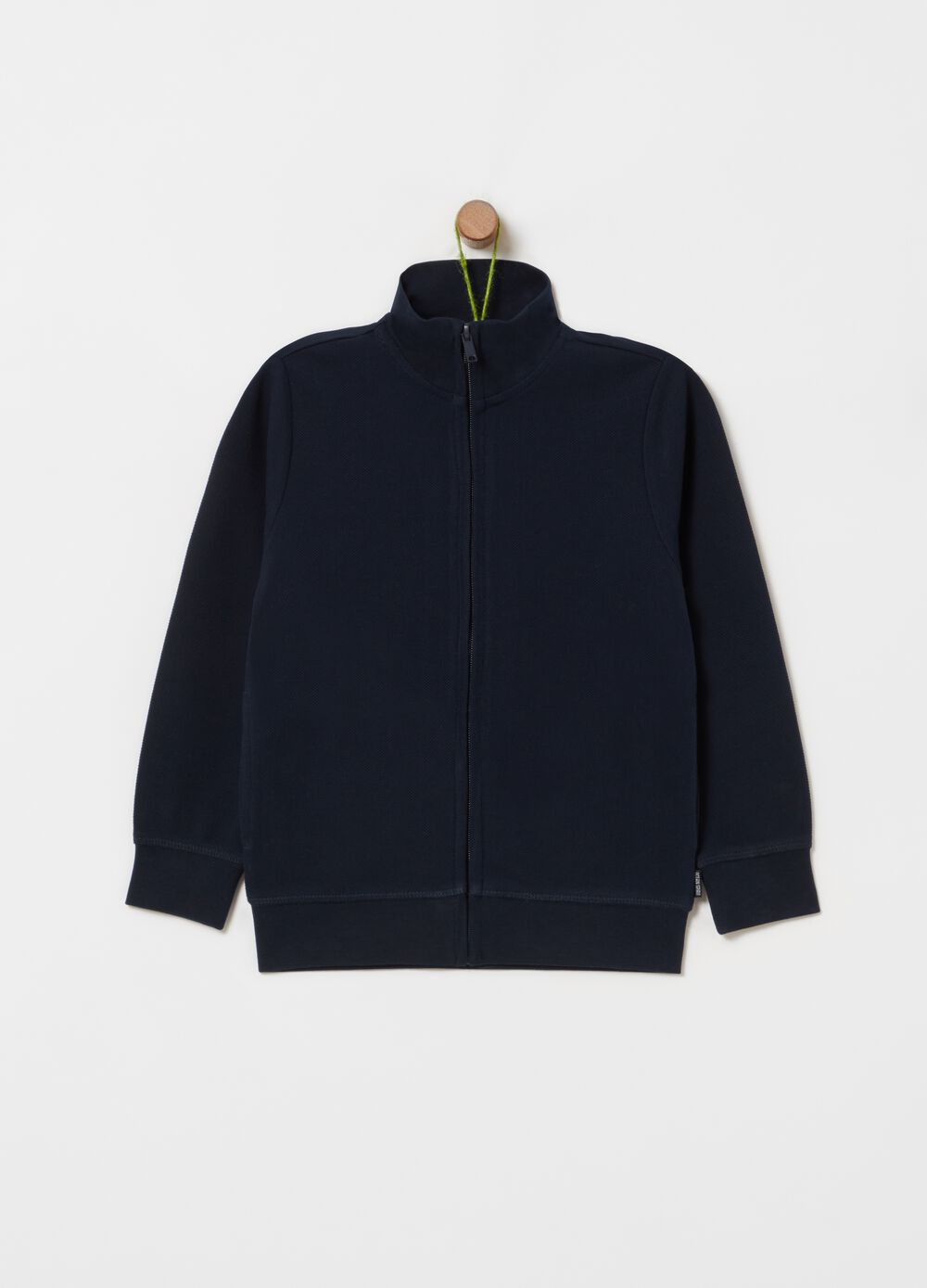 Full-zip sweatshirt in 100% organic cotton with high neck