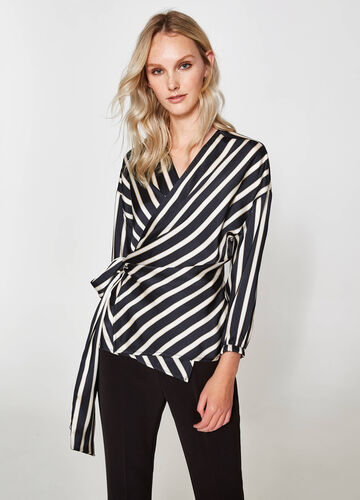 Striped patterned crossover blouse