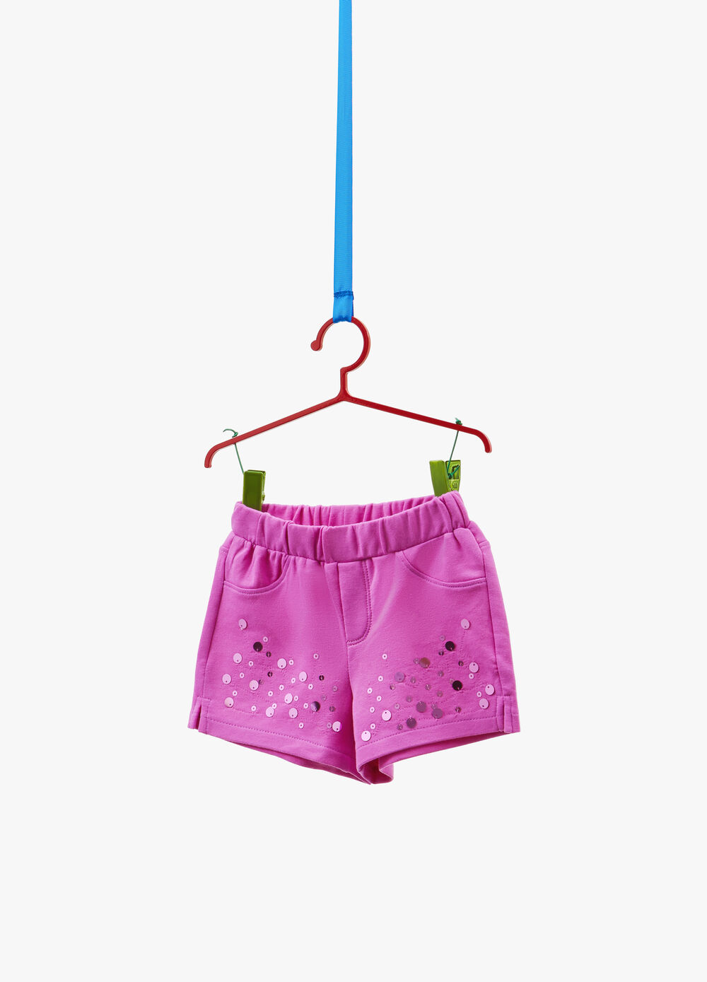 Stretch sequinned shorts