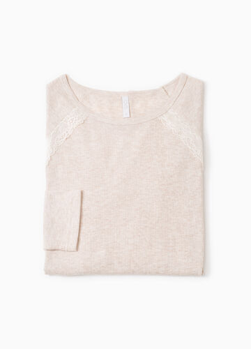 Ribbed pyjama top with lace