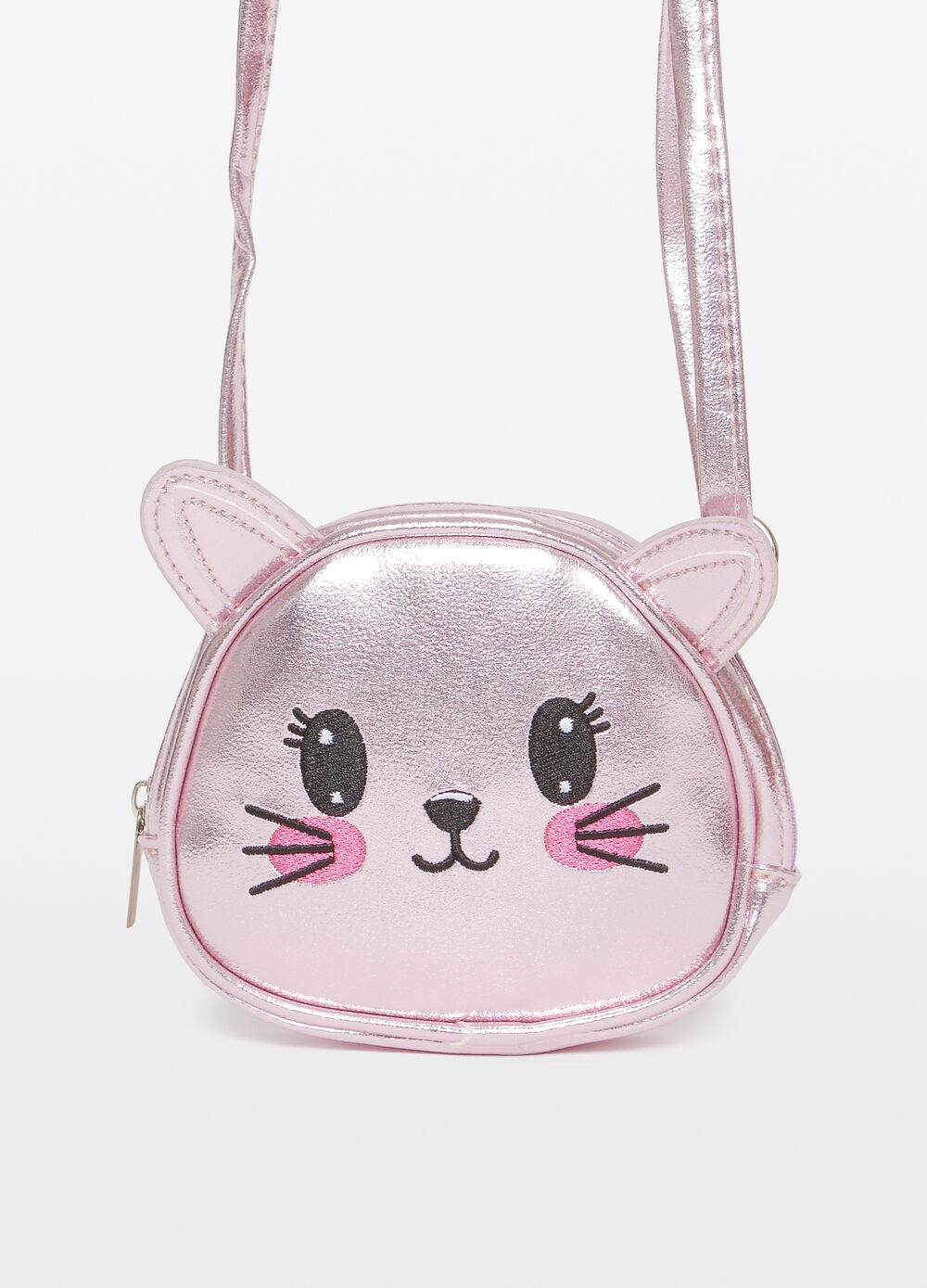 Shoulder bag with kitten ears and embroidery