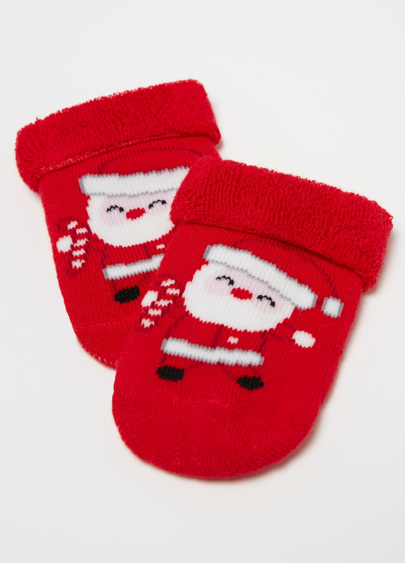 Two-pair pack short socks with Father Christmas print image number null