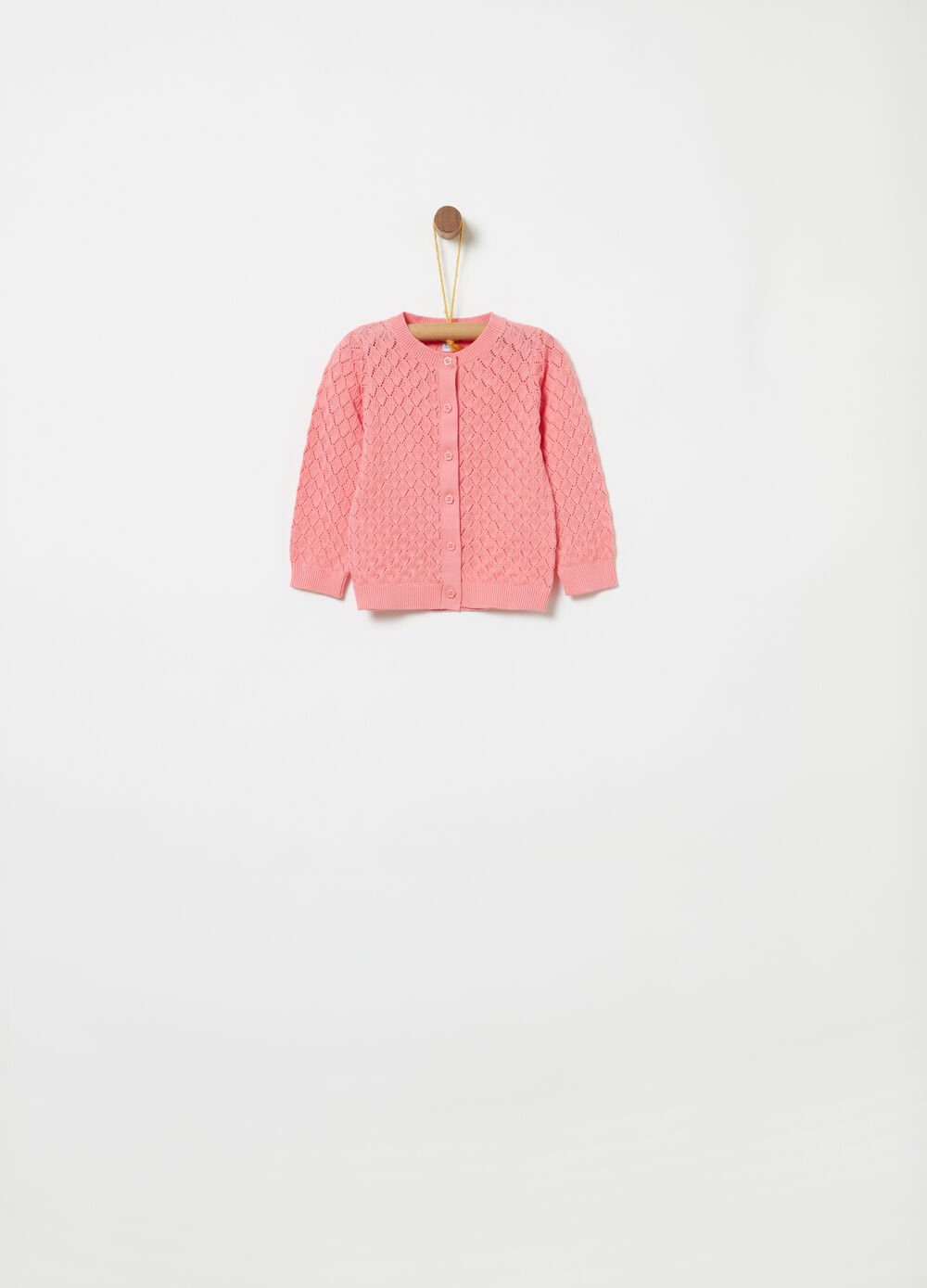 BCI cotton cardigan with openwork