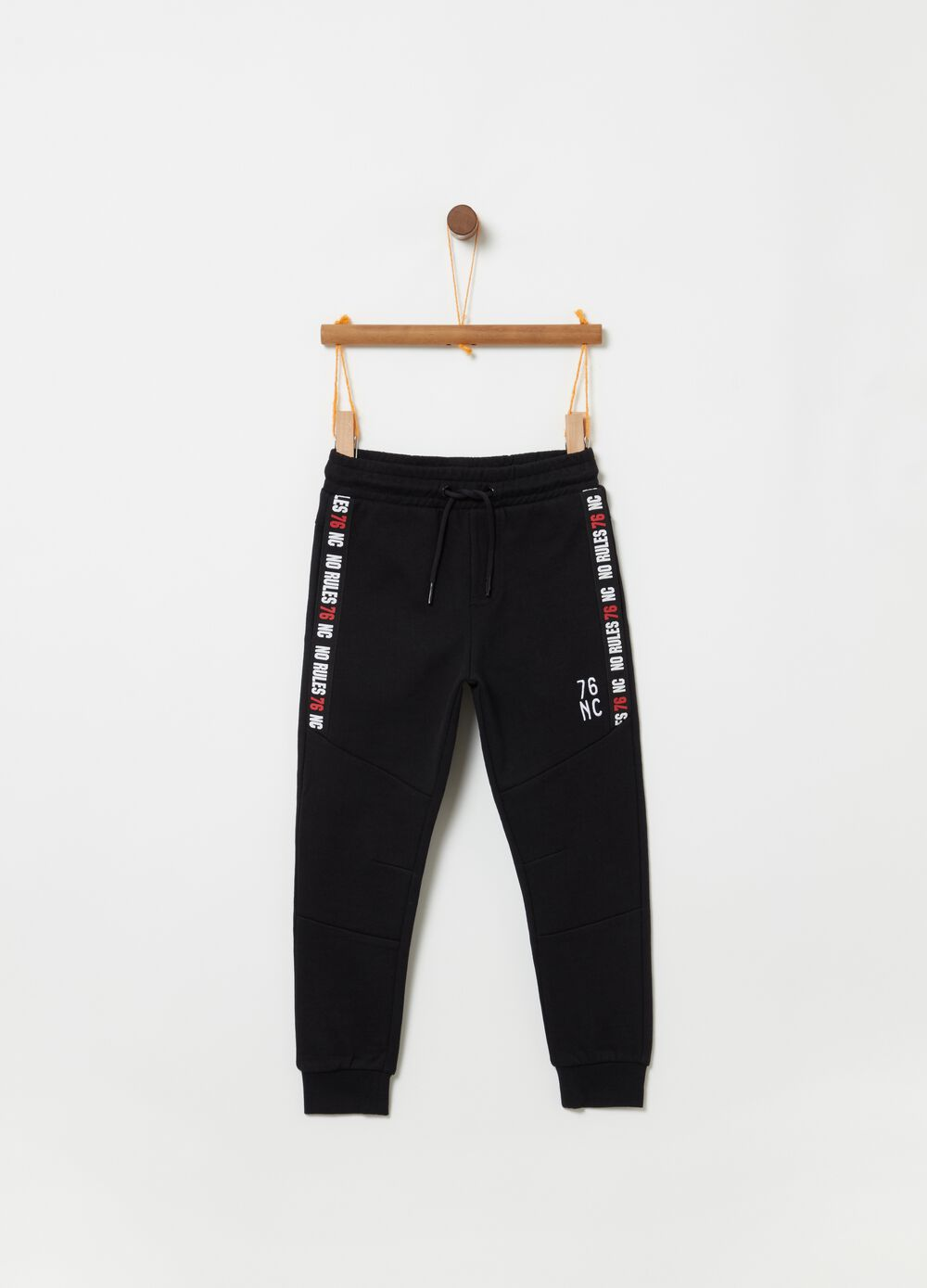 French terry trousers with drawstring and print