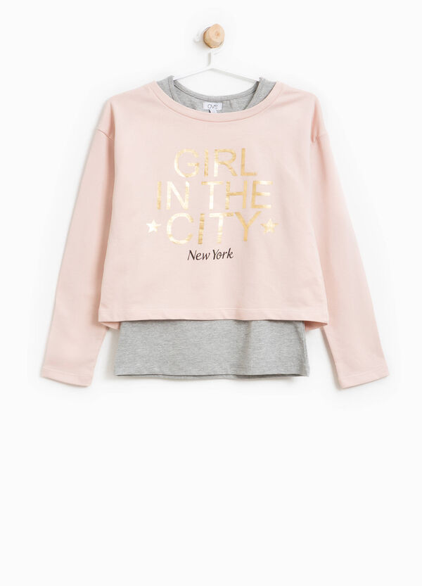 Crop sweatshirt in cotton with printed lettering   OVS