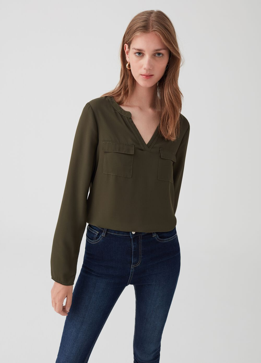 V-neck crêpe blouse with pockets