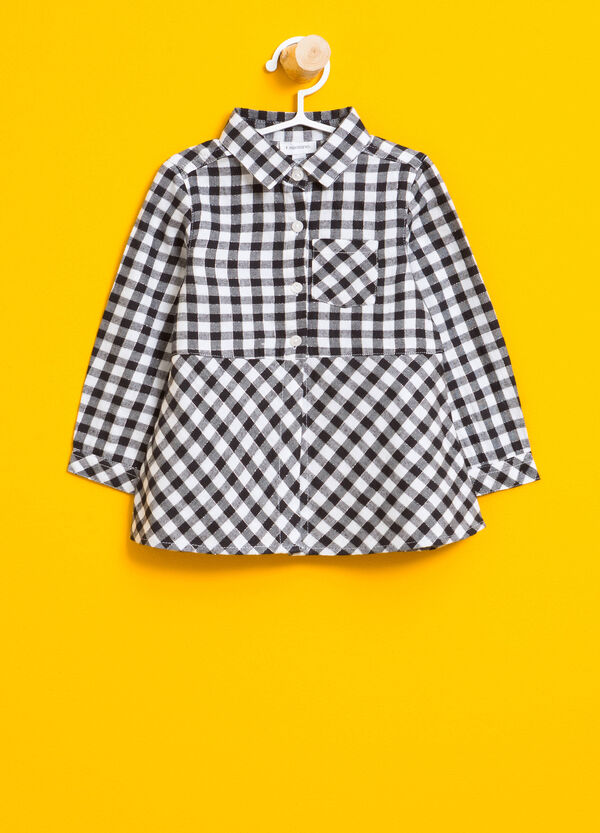Cotton shirt with check lurex | OVS