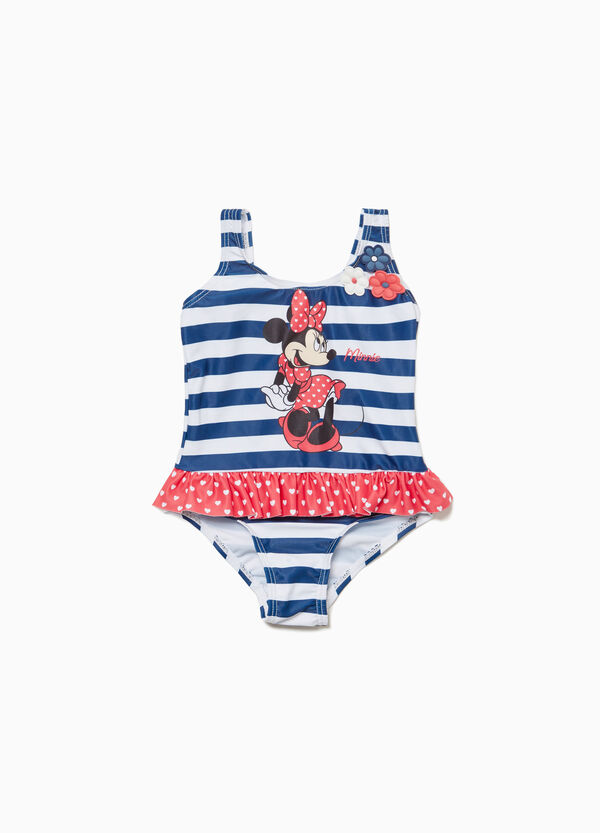 Stretch striped Minnie Mouse one-piece swimsuit