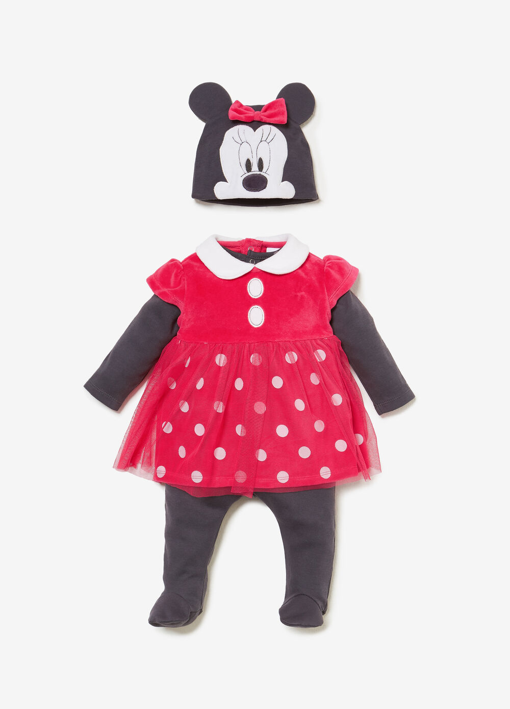 Minnie Mouse onesie, dress and hat outfit