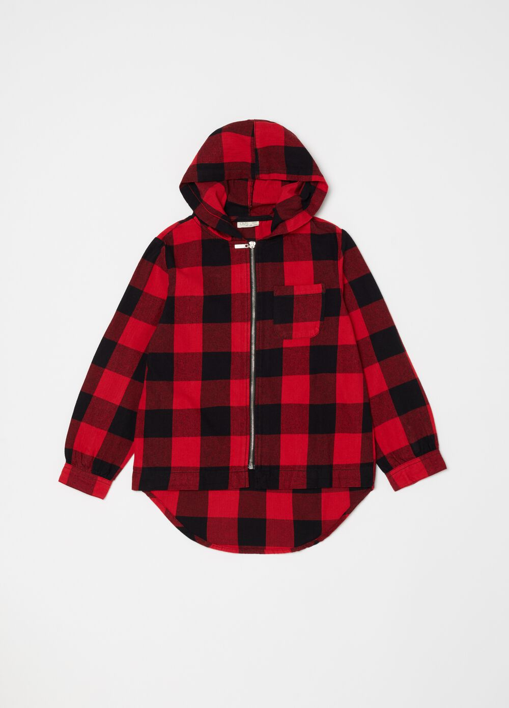 Shirt with hood and check zip